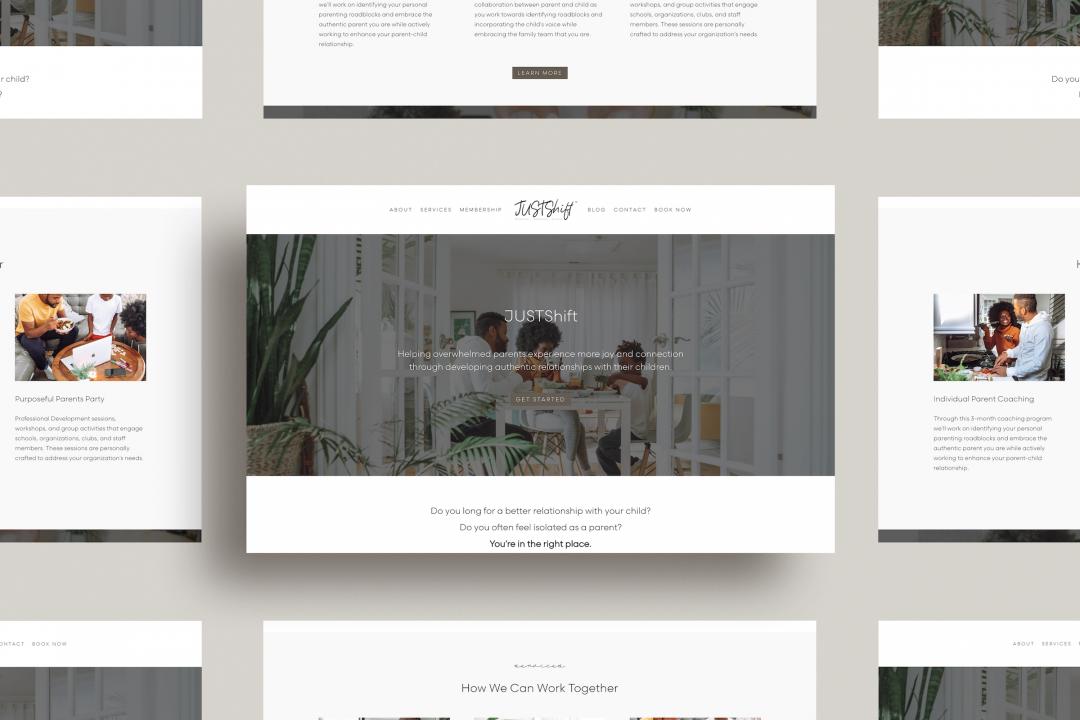 JUSTShift Parenting Coaching Custom Website Design